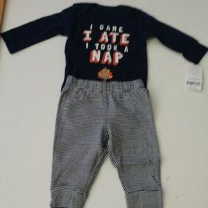 Carter's Thanksgiving Bodysuit & Striped Pants NWT